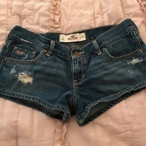 Distressed short jean shorts